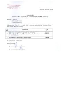 Protokół z otwarcia ofert